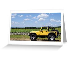 Yellow Jeep against Yellow Sunflowers Greeting Card