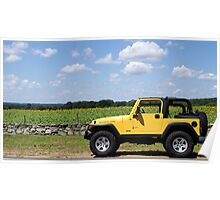 Yellow Jeep against Yellow Sunflowers Poster