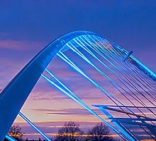 Millenium Bridge in lights, York, England by GrahamCSmith