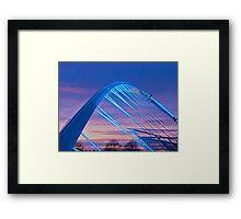 Millenium Bridge in lights, York, England Framed Print