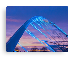 Millenium Bridge in lights, York, England Canvas Print