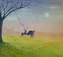 Swing High, Swing Low Beneath the Moonlight by dicoxwatercolor