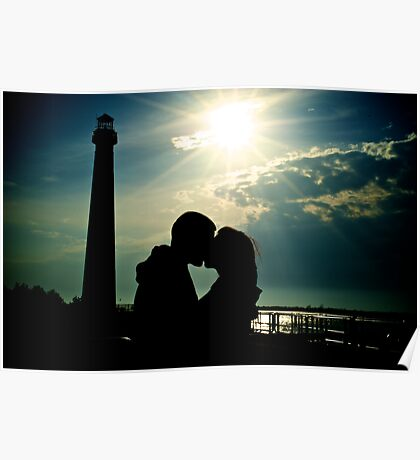 Couple Kissing by Lighthouse Silhouette Poster