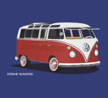 VW Bus T2 Samba Red White by Frank Schuster