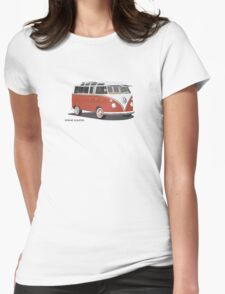 VW Bus T2 Samba Red Blk Womens Fitted T-Shirt
