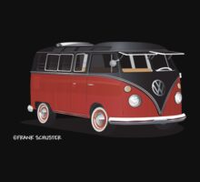VW Bus T2 Samba Red Blk Whte by Frank Schuster