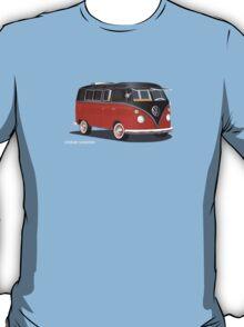 VW Bus T2 Samba Red Blk Whte T-Shirt