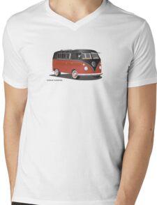VW Bus T2 Samba Red Blk Blk Mens V-Neck T-Shirt