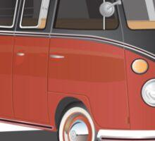 VW Bus T2 Samba Red Blk Blk Sticker