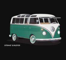 VW Bus T2 Samba Green Wht Kids Tee