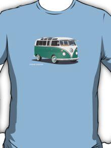 VW Bus T2 Samba Green Wht T-Shirt