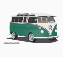 VW Bus T2 Samba Green Wht by Frank Schuster