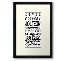 Eeveelutions Text_Black Framed Print