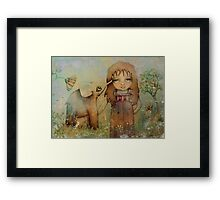 elephant kiss Framed Print