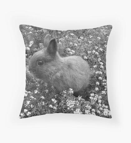 Bunny in Black & White Throw Pillow