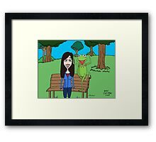 Krista Allen & Kermit the frog - tribute cartoon / comic art Framed Print