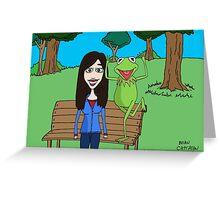 Krista Allen & Kermit the frog - tribute cartoon / comic art Greeting Card