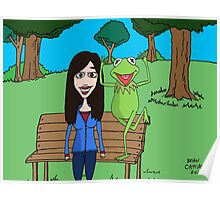Krista Allen & Kermit the frog - tribute cartoon / comic art Poster