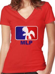 Major League Pony (MLP) - Rainbow Dash Women's Fitted V-Neck T-Shirt