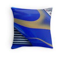 Street Rod Art: Blue, Gold & Chrome Throw Pillow