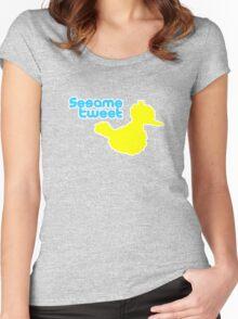 Sesame Tweet - Blue Text Women's Fitted Scoop T-Shirt