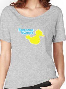 Sesame Tweet - Blue Text Women's Relaxed Fit T-Shirt