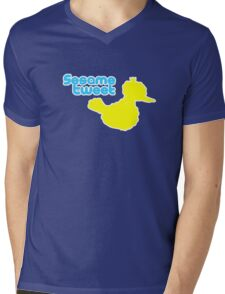 Sesame Tweet - Blue Text Mens V-Neck T-Shirt