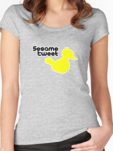 Sesame Tweet - Black Text Women's Fitted Scoop T-Shirt