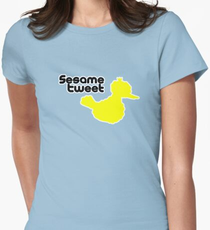 Sesame Tweet - Black Text Womens Fitted T-Shirt