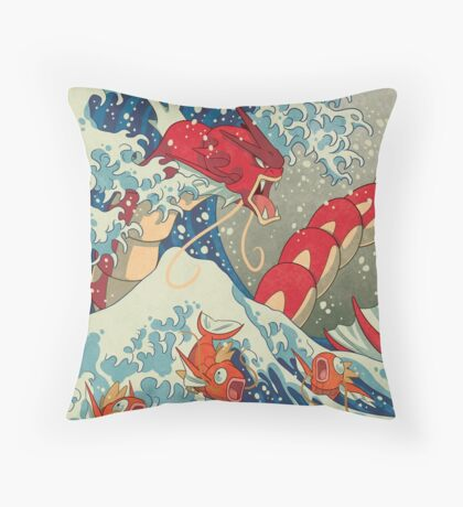 The Great Red Wave Throw Pillow