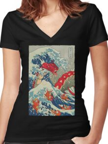 The Great Red Wave Women's Fitted V-Neck T-Shirt