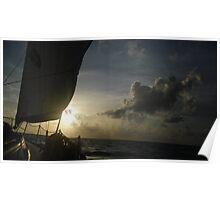 Beautiful Sunset Sailing The Atlantic Poster