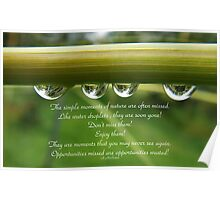 Water droplet inspiration card Poster