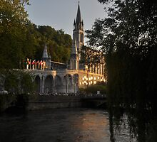 The Rosary Basilica at Sunset by marymdmed