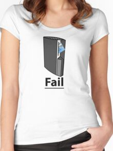 PS3 Fail, A playstation eating your credit card, comedy gamer design. Women's Fitted Scoop T-Shirt