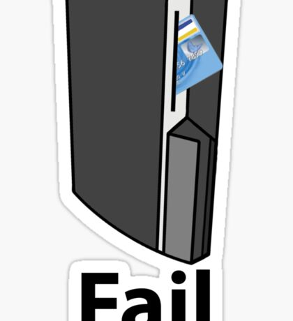PS3 Fail, A playstation eating your credit card, comedy gamer design. Sticker