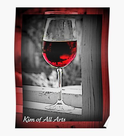 Red Wine (black and White) Poster