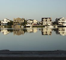 Houses on Bay, Stone Harbor, New Jersey by Rebecca  Haegele