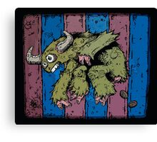 Pooping Bull Sloth with Pink Digits Canvas Print