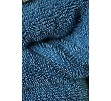 folds of a blue towel Photographic Print