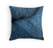 folds of a blue towel Throw Pillow