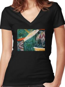 Dance of the Rays Tee Women's Fitted V-Neck T-Shirt
