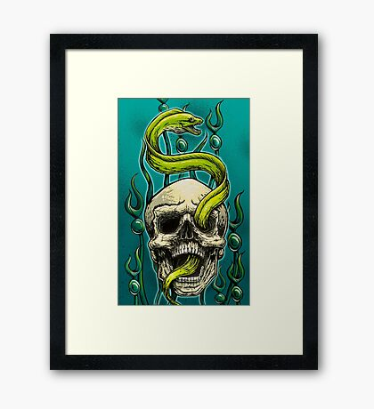 Old School Tattoo Skull and Moray Framed Print