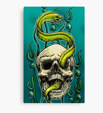 Old School Tattoo Skull and Moray Canvas Print