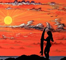 Sunset Surfer Girl by martycalabrese