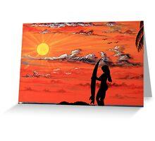 Sunset Surfer Girl Greeting Card