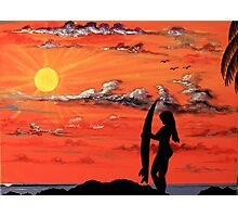Sunset Surfer Girl Photographic Print
