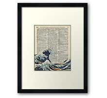 Dictionary Art - The Great Wave off Kanagawa, Sea, Waves Framed Print