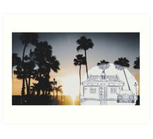 Pencil Sunset in Carribbean Art Print