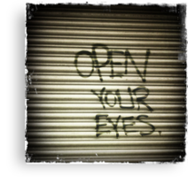 Open Your Eyes Graffiti Canvas Print